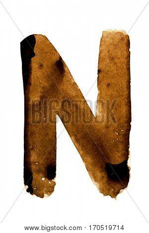 Letter N -- alphabet in coffee