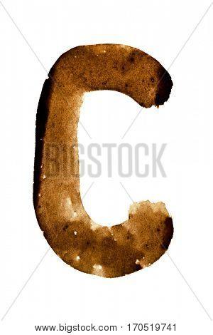 Letter C -- alphabet in coffee