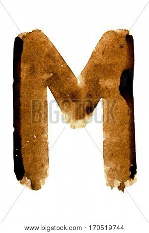 Letter M -- alphabet in coffee