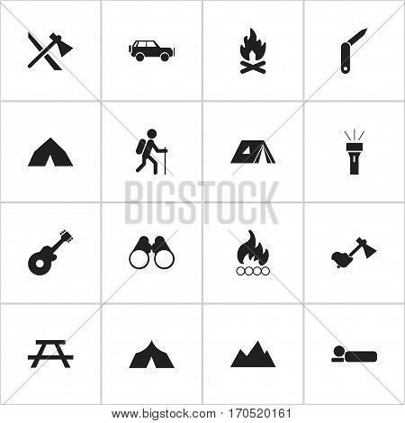 Set Of 16 Editable Trip Icons. Includes Symbols Such As Tomahawk, Refuge, Fever And More. Can Be Used For Web, Mobile, UI And Infographic Design.