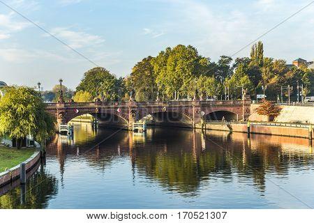 View To Historic Sandstone Moltke Bridge In Berlin