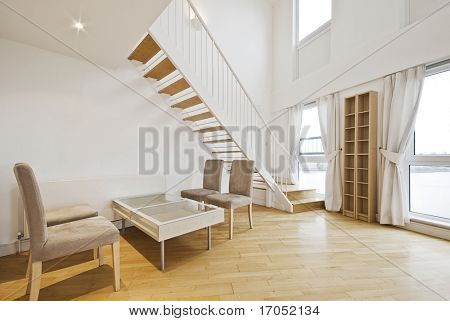 contemporary staircase of a duplex penthouse apartment