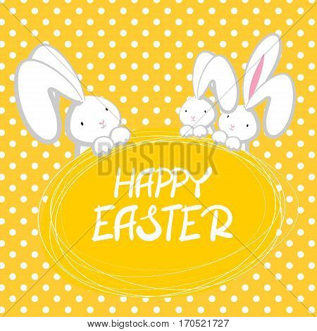 Three white cute rabbit with big ears pink nose, congratulates Happy Easte. yellow halftone background. Vector festive hand drawn illustration. Comic bubble, empty balloon.