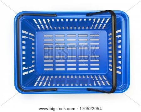 Blue  empty  shopping basket isolated on white background. 3d illustration