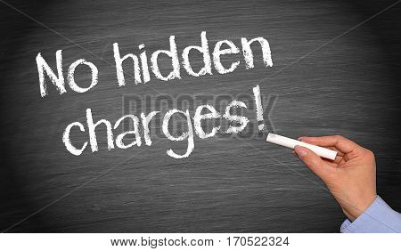 No hidden charges - female hand writing text