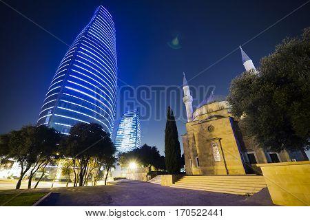 BAKU, AZERBAIJAN - NOVEMBER 27: Flame Towers Fairmont Hotel on November 27, 2016 in Baku, capital of Azerbaijan Republic.
