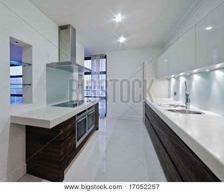 stunning luxury modern kitchen of a top floor penthouse apartment