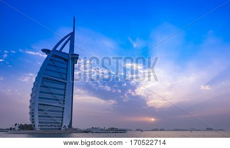Burj Al Arab - 7-star hotel in Dubai, UAE at sunset. January 2017