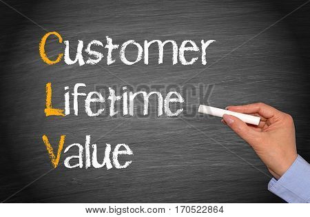 CLV - Customer Lifetime Value - female hand writing text