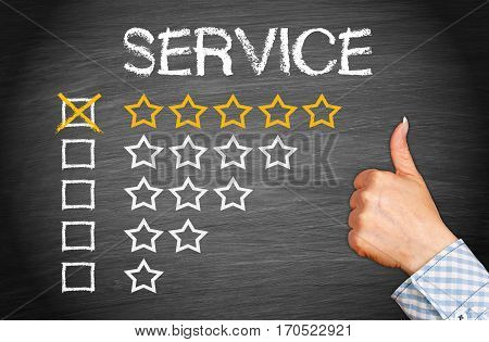 Best Service - 5 star rating with thumb up