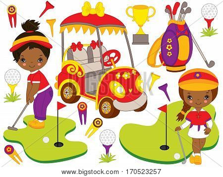 Vector African American little girls playing golf