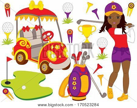 Vector golf set with African American girl, golf bag and golf buggy