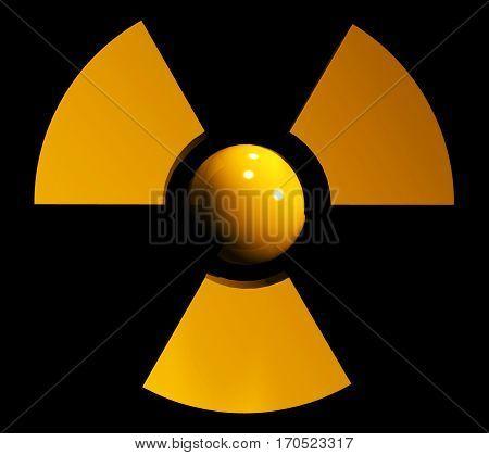 sign symbol of radiation on black background 3d rendering