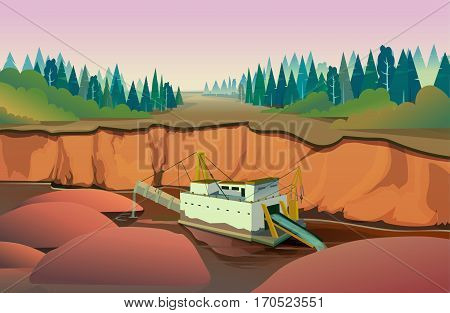 dredge quarry mining , vector Illustration for your application , project.