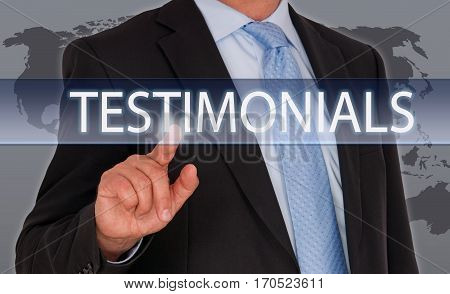 Testimonials - Businessman touching screen with text