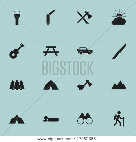 Set Of 16 Editable Trip Icons. Includes Symbols Such As Lantern, Musical Instrument, Peak And More. Can Be Used For Web, Mobile, UI And Infographic Design.