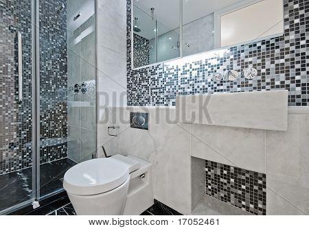 moderne Luxus-Badezimmer mit Boden bis zur Decke Mosaik-Fliesen