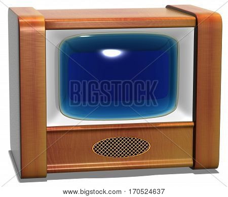 The TV old with blue glass screen on a white background. 3D