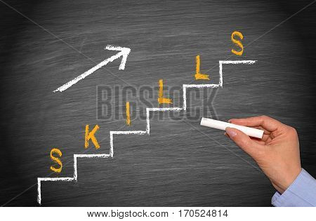 Increasing Skills Level - female hand with chalk and ladder with text