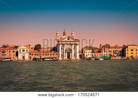 Venice Italy - September 9 2015: Completed in 1743 the Church of Santa Maria del Rosario commonly known as the Church of the Jesuits (Church of Jesus) is located on the Giudecca Canal.