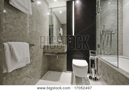luxury modern bathroom with marble and Eben wood