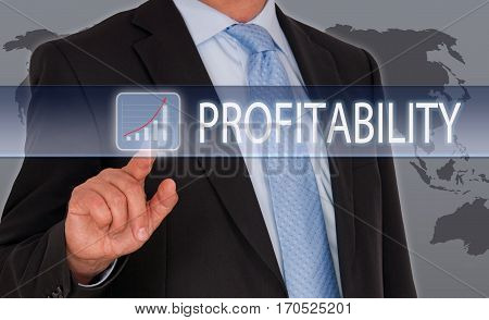Profitability - Businessman with touchscreen and sales performance button