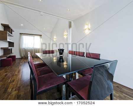 modern open plan living room with dining table