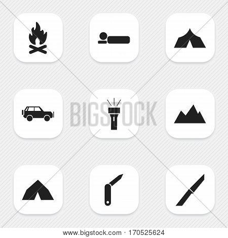 Set Of 9 Editable Camping Icons. Includes Symbols Such As Peak, Fever, Sport Vehicle And More. Can Be Used For Web, Mobile, UI And Infographic Design.