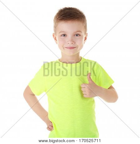 Cute boy in color T-shirt isolated on white