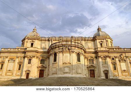 Rome Italy - September 11 2016 : Front of the historical Basilica Papale di Santa Maria Maggiore church in Rome