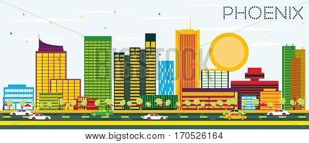 Phoenix Skyline with Color Buildings and Blue Sky. Business Travel and Tourism Concept. Image for Presentation Banner Placard and Web Site.