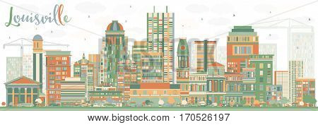 Abstract Louisville Skyline with Color Buildings. Business Travel and Tourism Concept with Modern Architecture. Image for Presentation Banner Placard and Web Site.