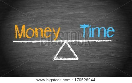 Money and Time - balance concept with seesaw and text