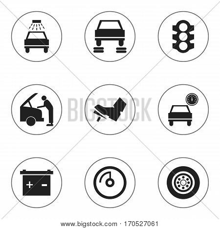 Set Of 9 Editable Transport Icons. Includes Symbols Such As Car Fixing, Stoplight, Automobile And More. Can Be Used For Web, Mobile, UI And Infographic Design.