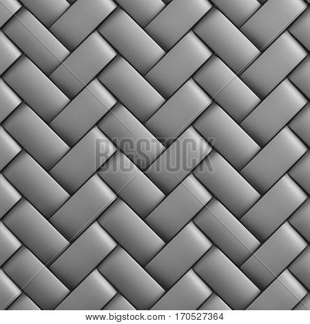 Abstract decorative metallic textured basket weaving. 3D image