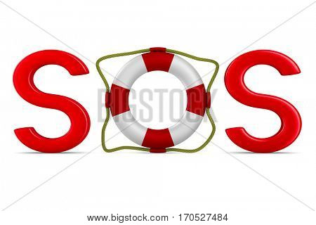 SOS on white background. Isolated 3D image