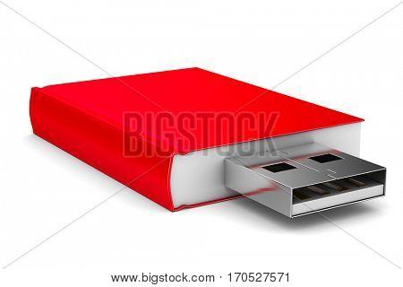 ebook on white background. Isolated 3D image