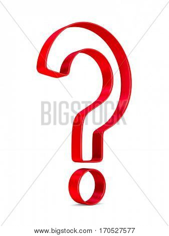 Sign question on white background. Isolated 3D image