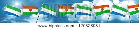 Sierra Leone flag with Niger flag, 3D rendering