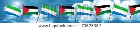 Sierra Leone flag with Palestine flag, 3D rendering