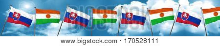 Slovakia flag with Niger flag, 3D rendering
