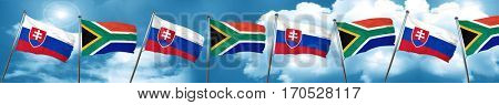 Slovakia flag with South Africa flag, 3D rendering