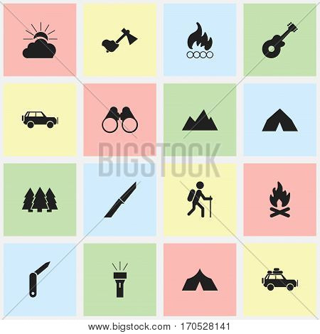Set Of 16 Editable Travel Icons. Includes Symbols Such As Sport Vehicle, Pine, Sunrise And More. Can Be Used For Web, Mobile, UI And Infographic Design.