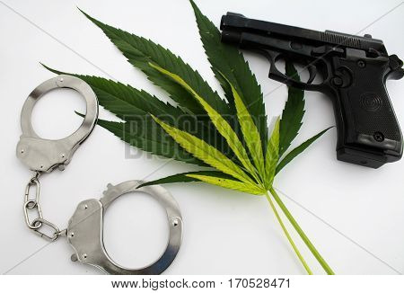 Hemp marijuana plant leaves crime danger illegal image with gun and cuffs