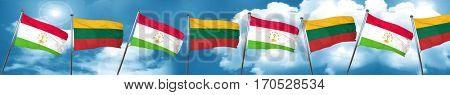 Tajikistan flag with Lithuania flag, 3D rendering