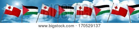 Tonga flag with Palestine flag, 3D rendering