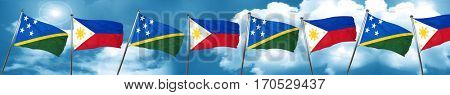 Solomon islands flag with Philippines flag, 3D rendering