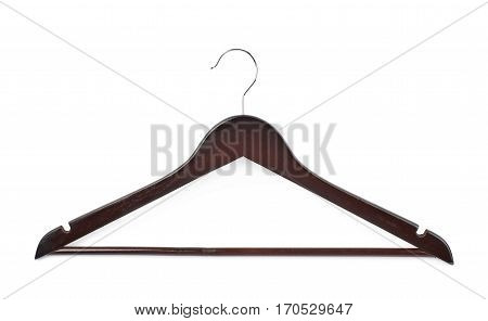 Single dark wooden hanger isolated over the white background