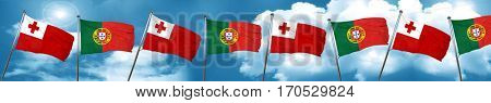 Tonga flag with Portugal flag, 3D rendering