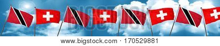 Trinidad and tobago flag with Switzerland flag, 3D rendering
